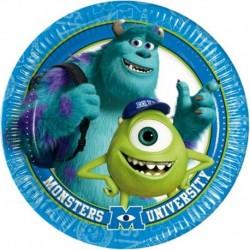8 Piatti Tondi Carta Monster 20 cm