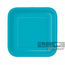 16 Piatti Quadrati Carta Turchese Teal 18 cm