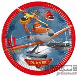 8 Piatti Tondi Carta Planes 23 cm