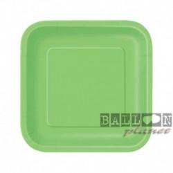 16 Piatti Quadrati Carta Verde Lime 18 cm