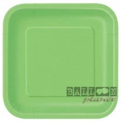 14 Piatti Quadrati Carta Verde Lime 23 cm