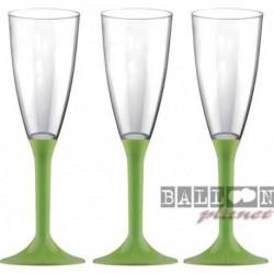 6 Flütes Plastica Verde Lime 120 ml