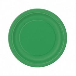20 Piatti Tondi Carta Verde Smeraldo 18 cm