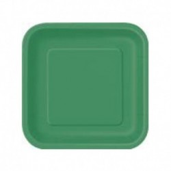 16 Piatti Quadrati Carta Verde Smeraldo 18 cm