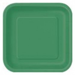14 Piatti Quadrati Carta Verde Smeraldo 23 cm