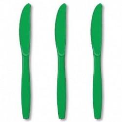 24 Coltelli Plastica Verde Smeraldo 18 cm