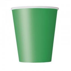 8 Bicchieri Carta Verde Smeraldo 266 ml