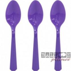 24 Cucchiai Plastica Viola Scuro 18 cm