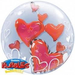 Pallone Bubble Cuoricini 60 cm