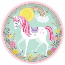 8 Piatti Tondi Carta Unicorno 23 cm