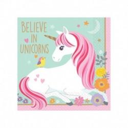16 Tovaglioli Carta Unicorno 25x25 cm