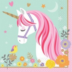 16 Tovaglioli Carta Unicorno 33x33 cm