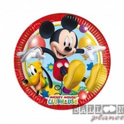8 Piatti Tondi Carta Mickey 20 cm