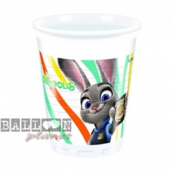 8 Bicchieri Plastica Zootropolis 200 ml