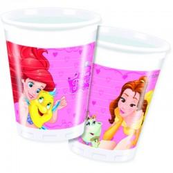 8 Bicchieri Plastica Principesse 200 ml