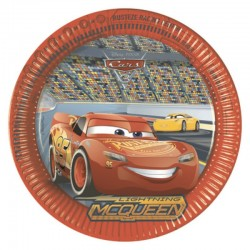 8 Piatti Tondi Carta Cars 23 cm