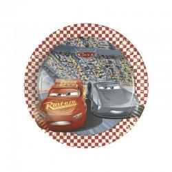8 Piatti Tondi Carta Cars 20 cm