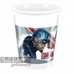 8 Bicchieri Plastica Avengers 200 ml