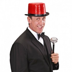 Cappello Cilindro Paillettes Rosse