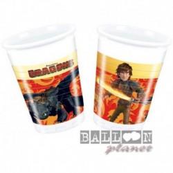 8 Bicchieri Plastica Dragon Trainer 200 ml