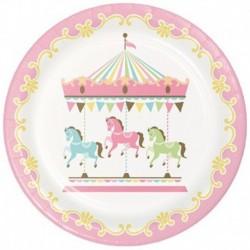 8 Piatti Tondi Carta Carousel 23 cm