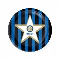 8 Piatti Tondi Carta Inter 18 cm