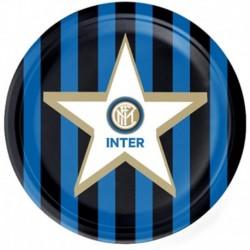 8 Piatti Tondi Carta Inter 23 cm