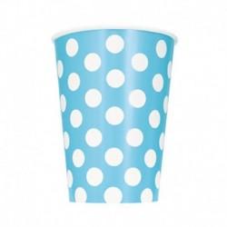 6 Bicchieri Carta Pois Azzurri 355 ml