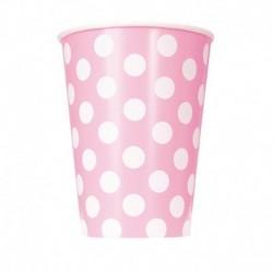 6 Bicchieri Carta Pois Rosa 355 ml