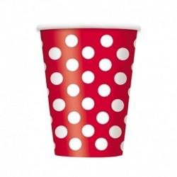 6 Bicchieri Carta Pois Rossi 355 ml