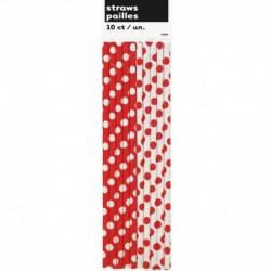 10 Cannucce Rosse Pois 20 cm