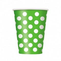 6 Bicchieri Carta Pois Verdi 355 ml