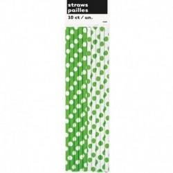 10 Cannucce Verde Lime Pois 20 cm