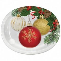 8 Piatti Ovali Carta Ornament 25x30 cm