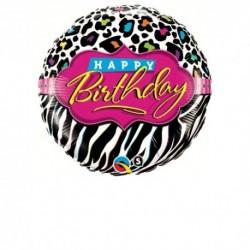 Pallone Zebrato Happy B-Day 45 cm