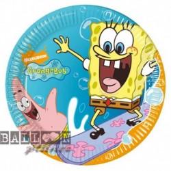 10 Piatti Tondi Carta SpongeBob 23 cm