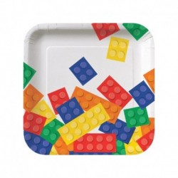 8 Piatti Quadrati Carta Lego Block 18 cm