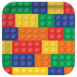 8 Piatti Quadrati Lego Block 23 cm