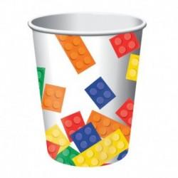 8 Bicchieri Carta Lego Block 266 ml