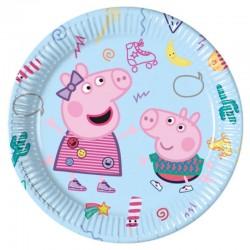 8 Piatti Tondi Carta Peppa Pig 23 cm