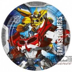 8 Piatti Tondi Carta Transformers 23 cm