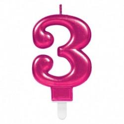 Candela Numero 3 Fucsia 8 cm