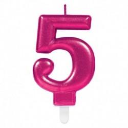 Candela Numero 5 Fucsia 8 cm