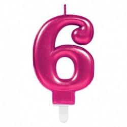 Candela Numero 6 Fucsia 8 cm