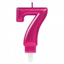 Candela Numero 7 Fucsia 8 cm