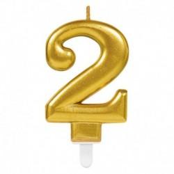 Candela Numero 2 Oro 8 cm