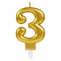 Candela Numero 3 Oro 8 cm