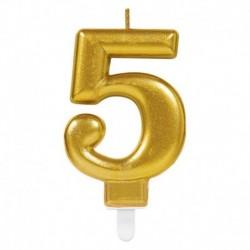Candela Numero 5 Oro 8 cm