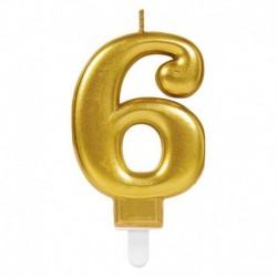 Candela Numero 6 Oro 8 cm