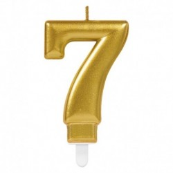 Candela Numero 7 Oro 8 cm